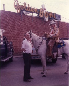 Even Buffalo Bill was a regular at the Golden Bowl. Donald Jensen is standing to his left.