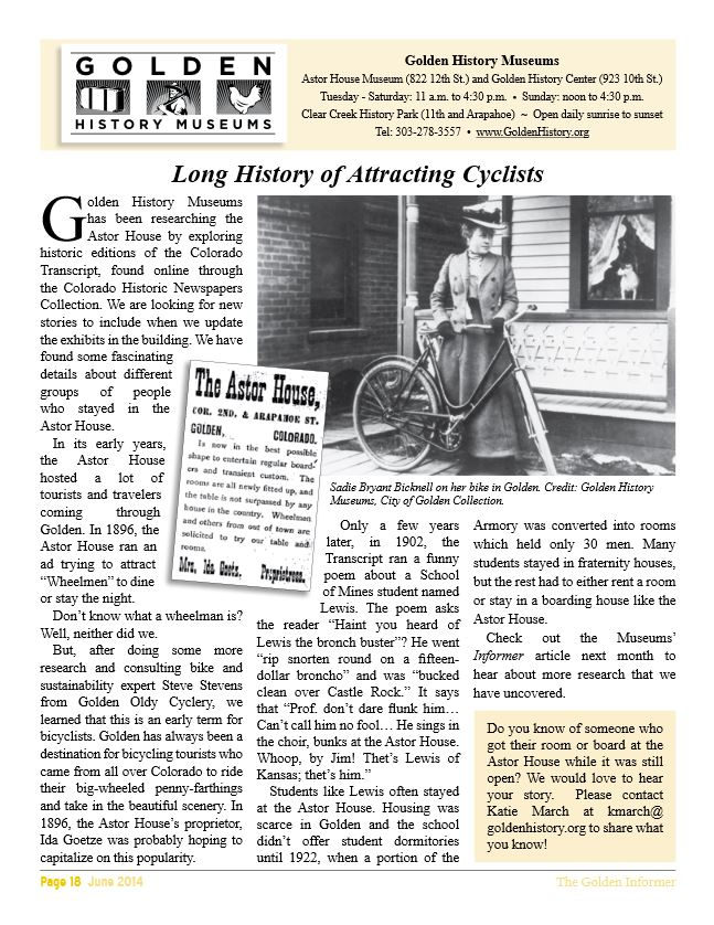 Golden: Long History of Attracting Cyclists