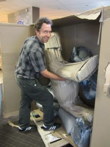 Unpacking a donkey in wraps