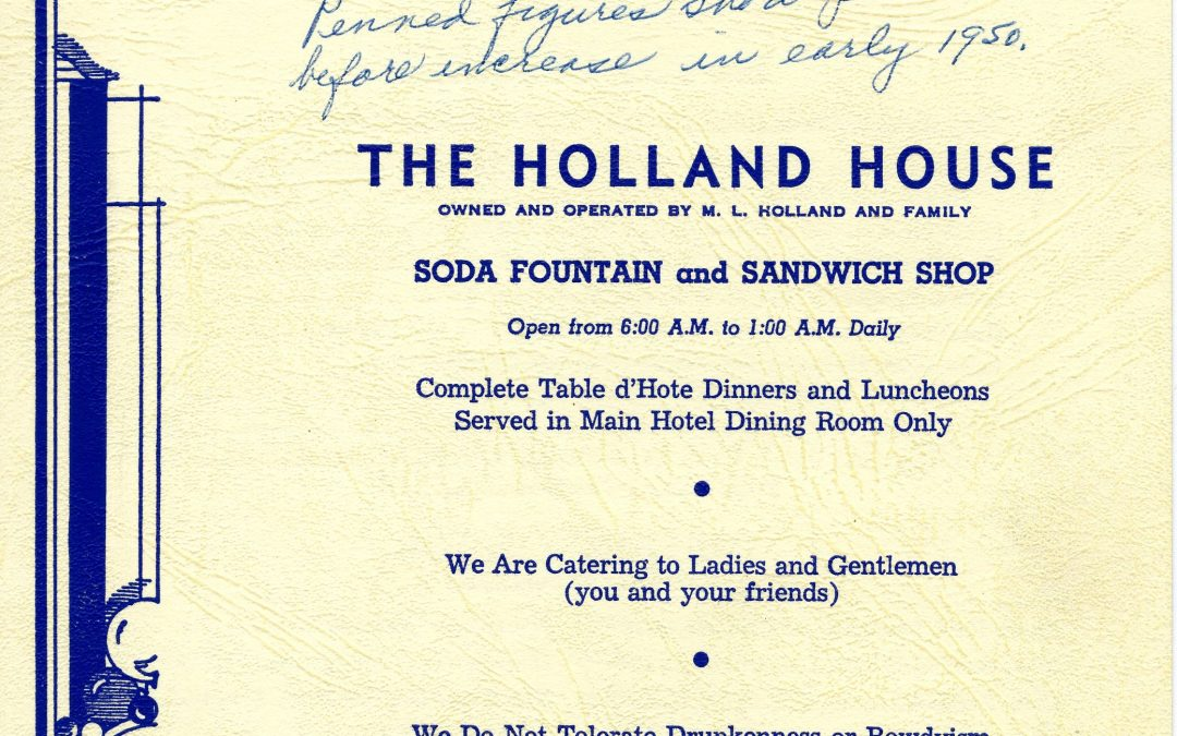 Table Mountain Inn donates Holland House menus