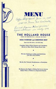 Holland House menu