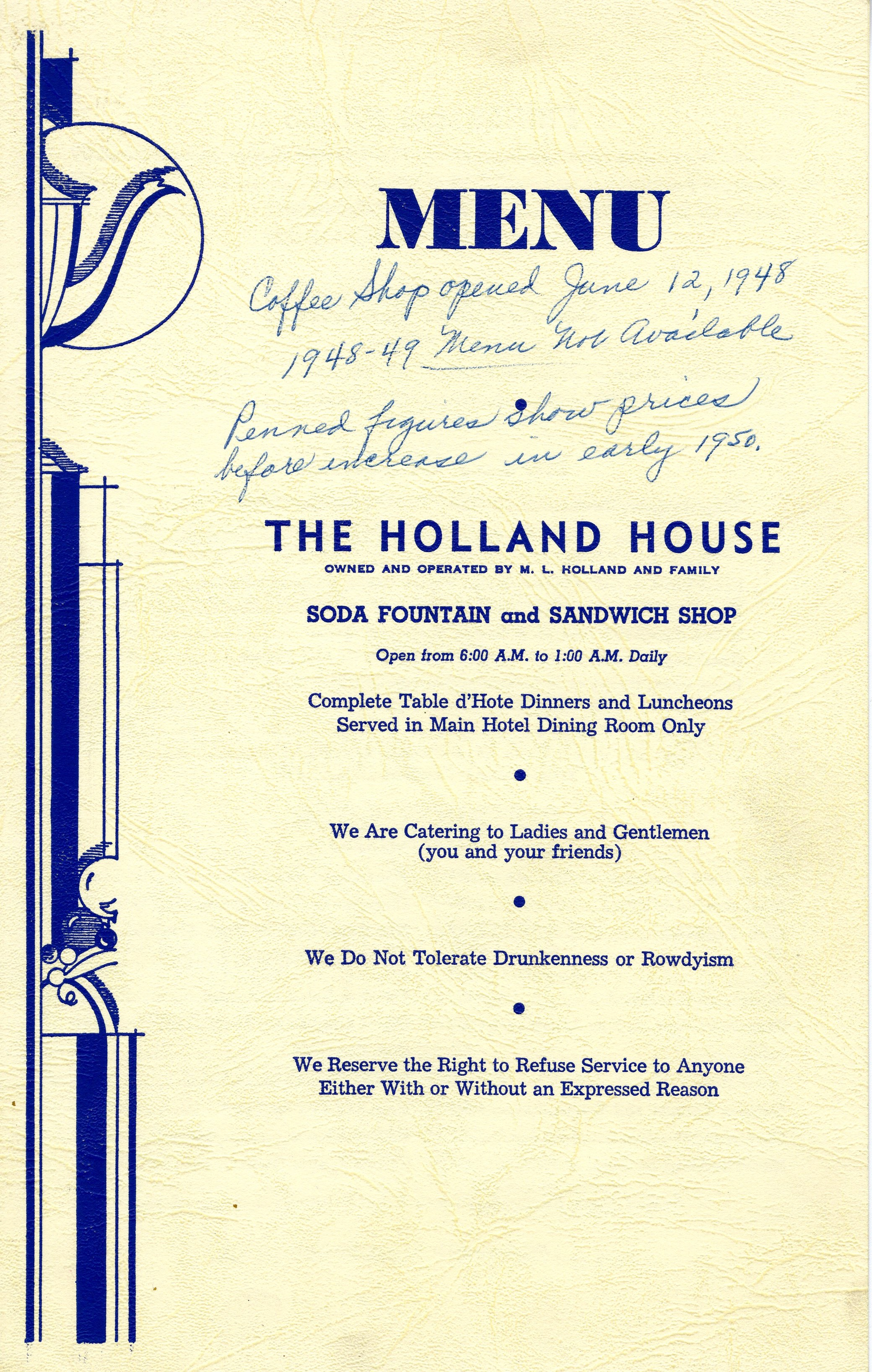 Table Mountain Inn Donates Holland House Menus Golden